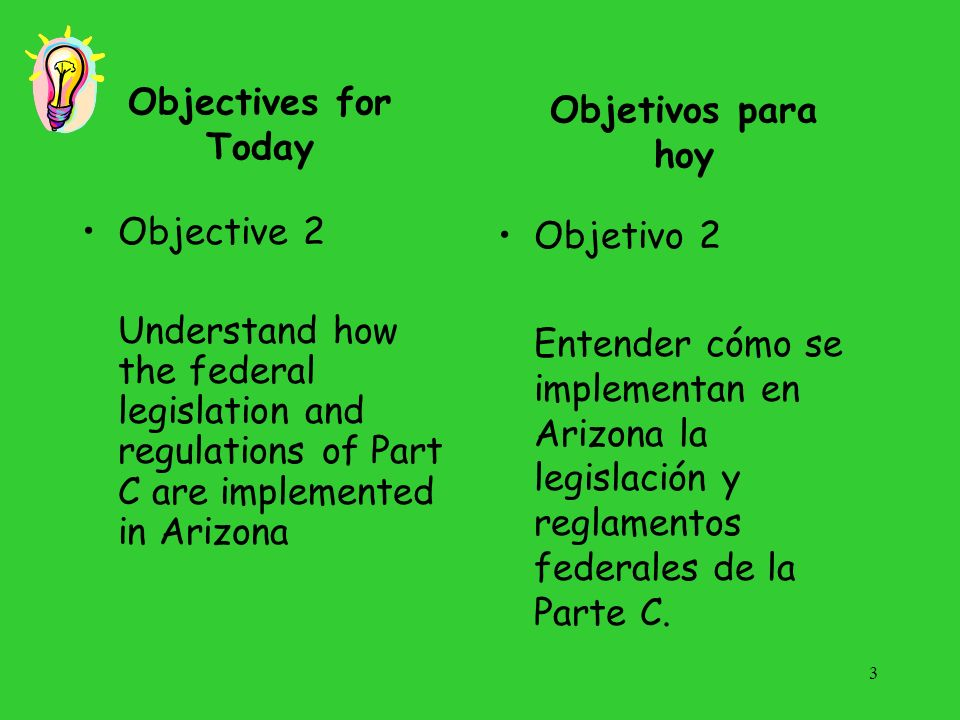 Objectives for Today Objetivos para hoy. Objective 2. Understand how the federal legislation and regulations of Part C are implemented in Arizona.