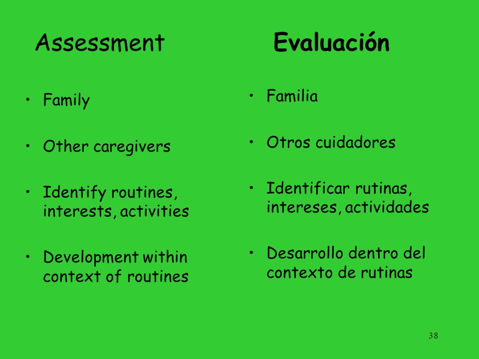 Assessment Evaluación Familia Family Otros cuidadores Other caregivers