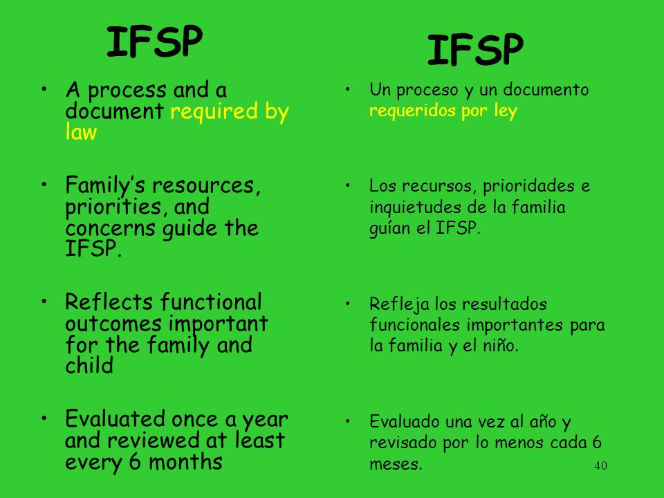 IFSP IFSP A process and a document required by law