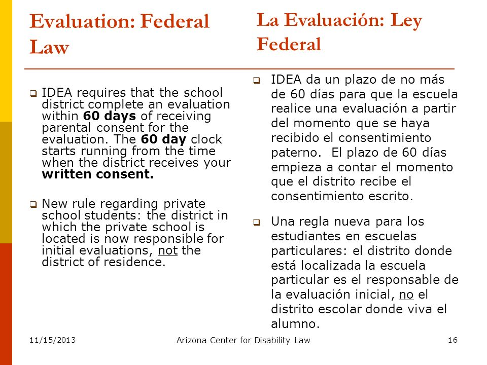Evaluation: Federal Law