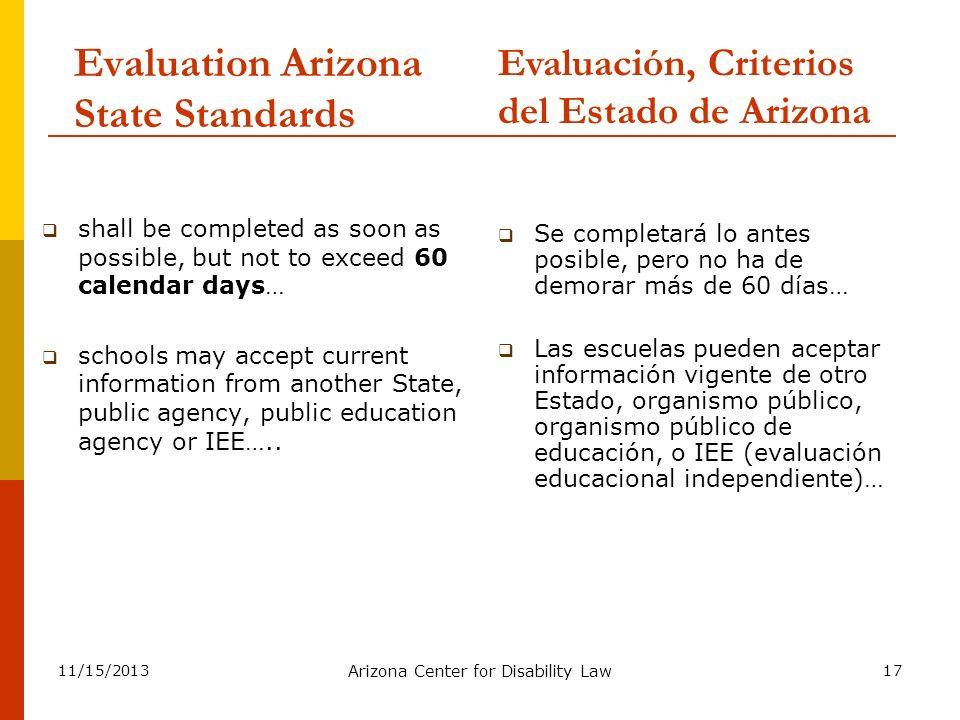 Evaluation Arizona State Standards