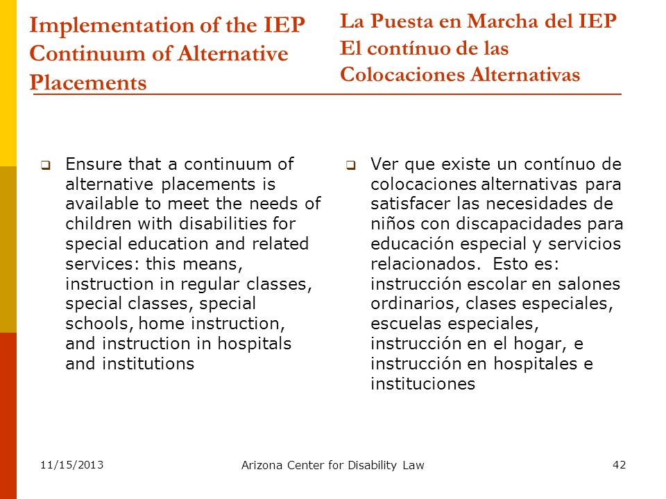 Implementation of the IEP Continuum of Alternative Placements