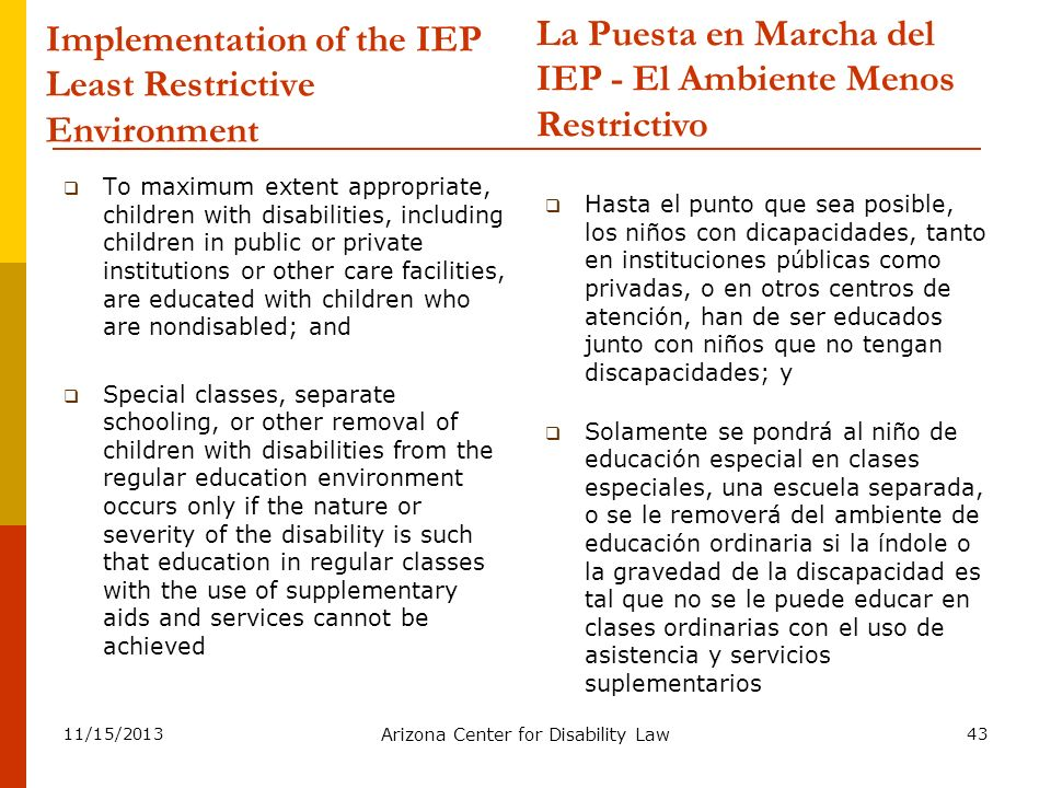 Implementation of the IEP Least Restrictive Environment