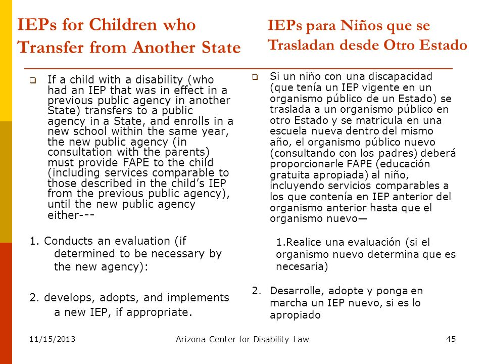 IEPs for Children who Transfer from Another State