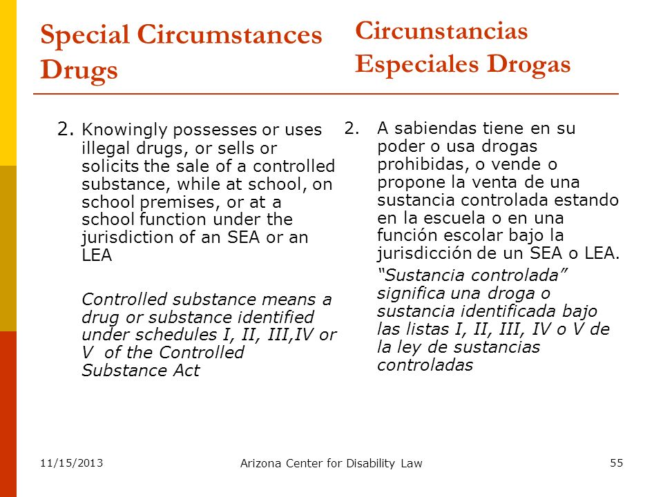 Special Circumstances Drugs