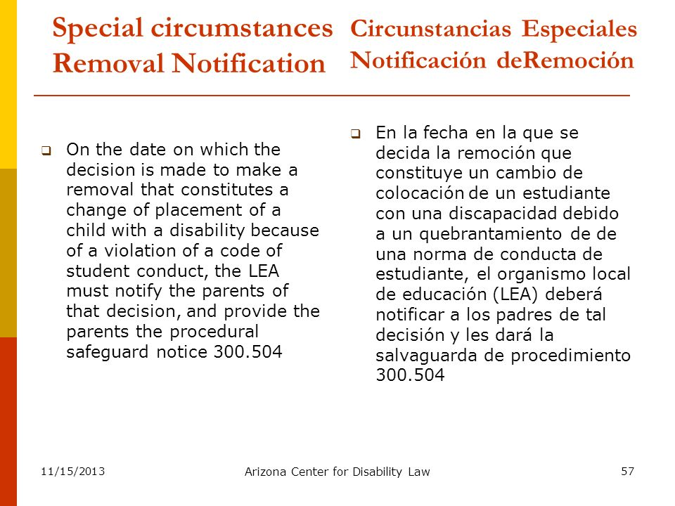 Special circumstances Removal Notification