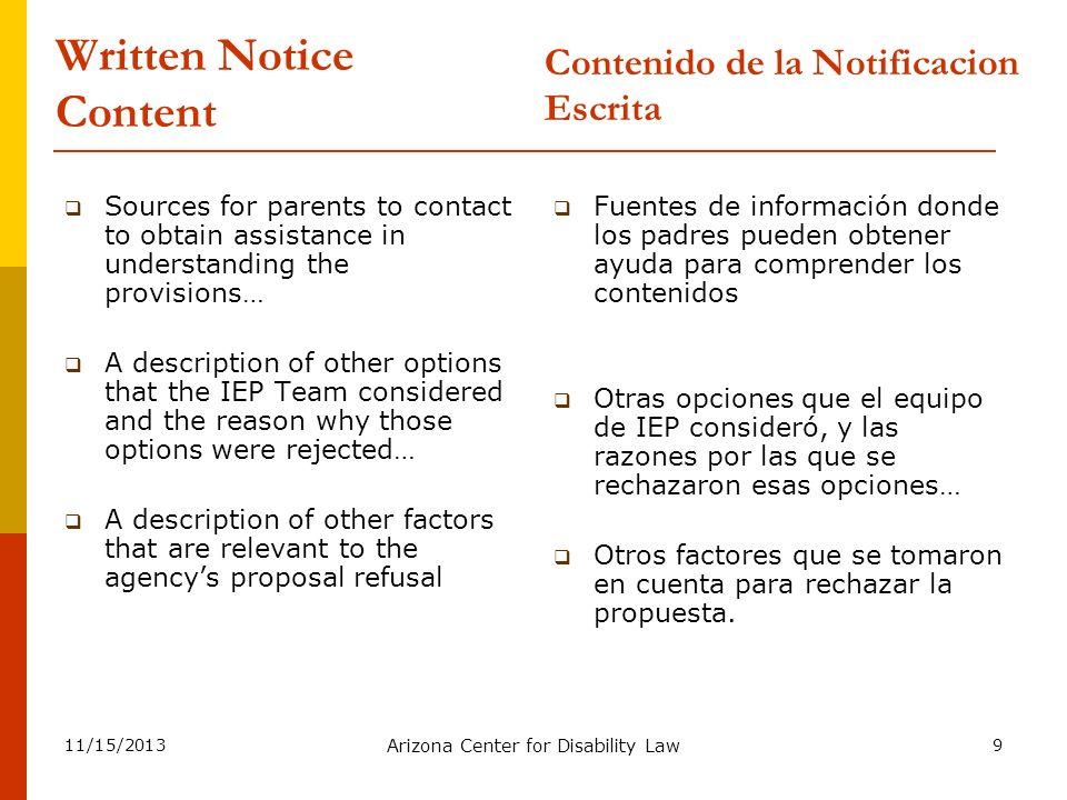 Written Notice Content