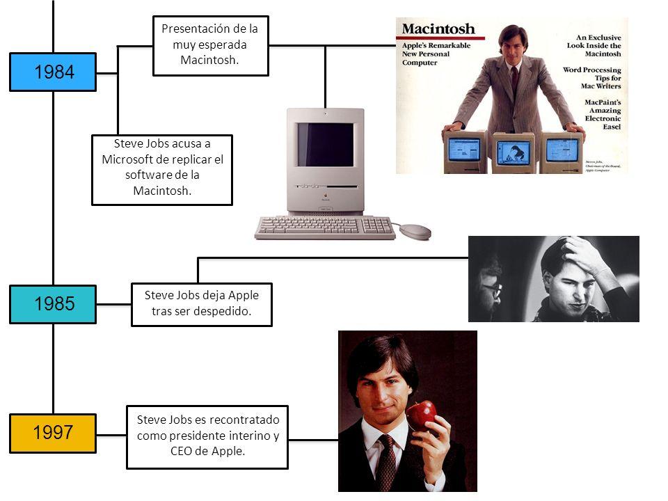 1984 1985 1997 Presentación de la muy esperada Macintosh.