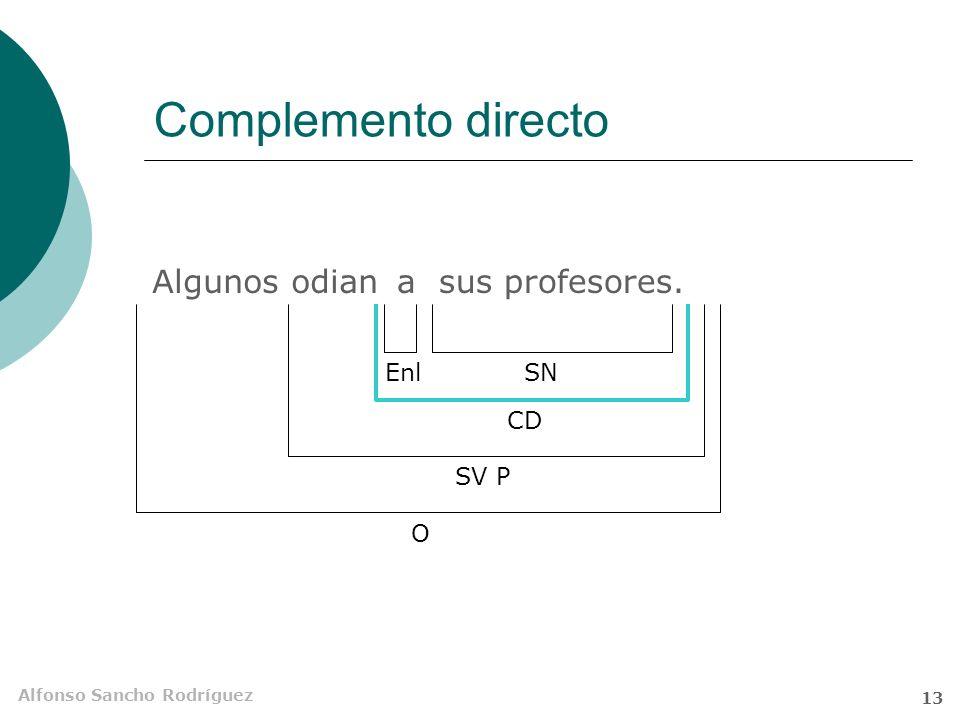 Complemento directo Algunos odian a sus profesores. Enl SN CD SV P O