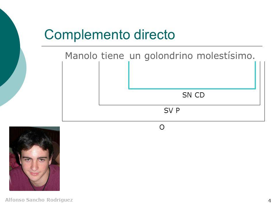 Complemento directo Manolo tiene un golondrino molestísimo. SN CD SV P