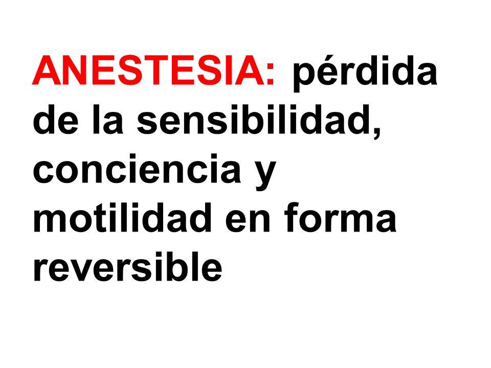 ANESTESIA: pérdida de la sensibilidad, conciencia y motilidad en forma reversible