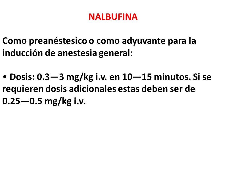 NALBUFINA Como preanéstesico o como adyuvante para la inducción de anestesia general: