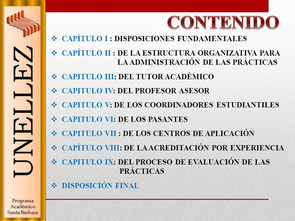CONTENIDO CAPÍTULO I : DISPOSICIONES FUNDAMENTALES