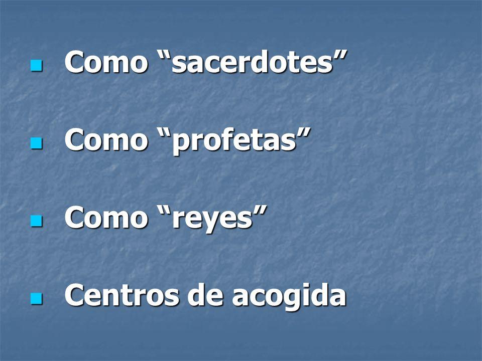 Como sacerdotes Como profetas Como reyes Centros de acogida
