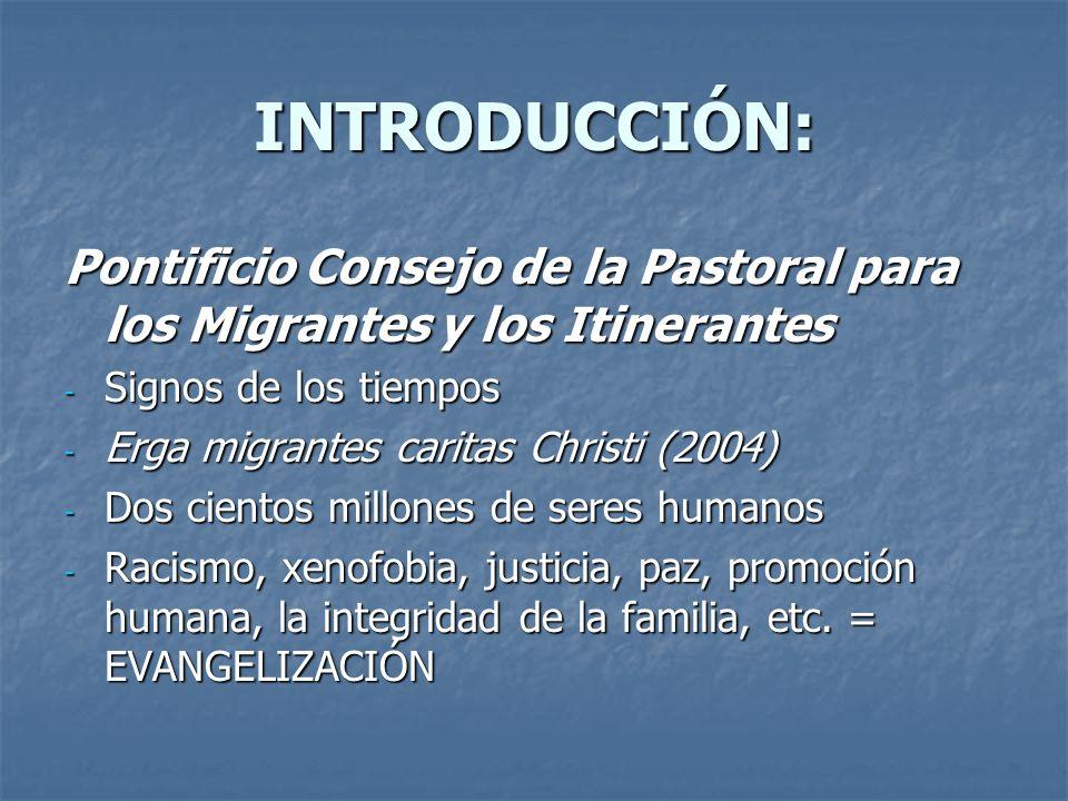 INTRODUCCIÓN: Pontificio Consejo de la Pastoral para los Migrantes y los Itinerantes. Signos de los tiempos.