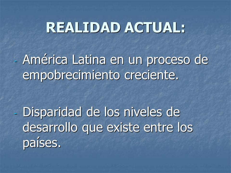 REALIDAD ACTUAL: América Latina en un proceso de empobrecimiento creciente.