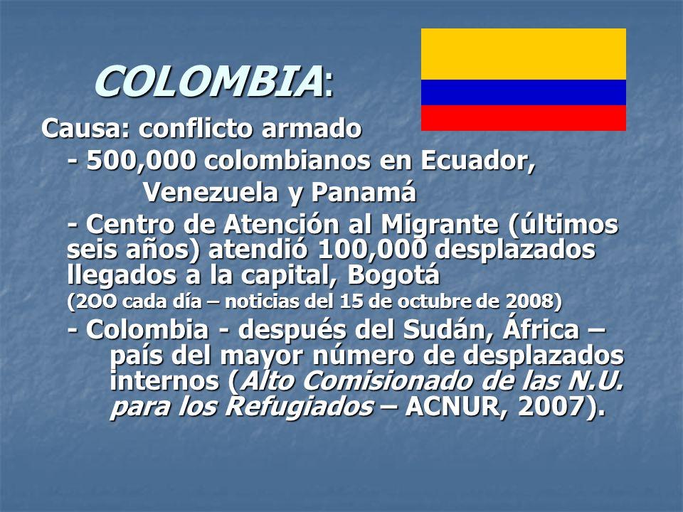 COLOMBIA: Causa: conflicto armado - 500,000 colombianos en Ecuador,