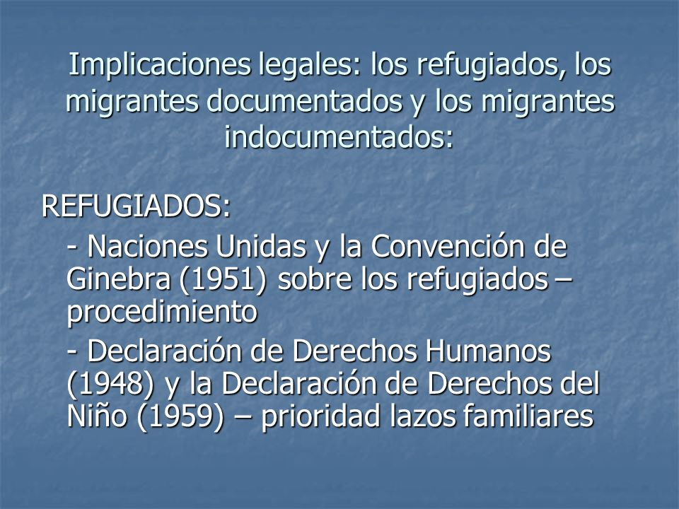 Implicaciones legales: los refugiados, los migrantes documentados y los migrantes indocumentados: