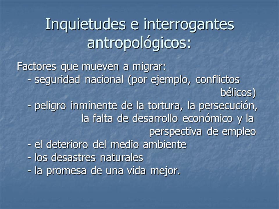 Inquietudes e interrogantes antropológicos: