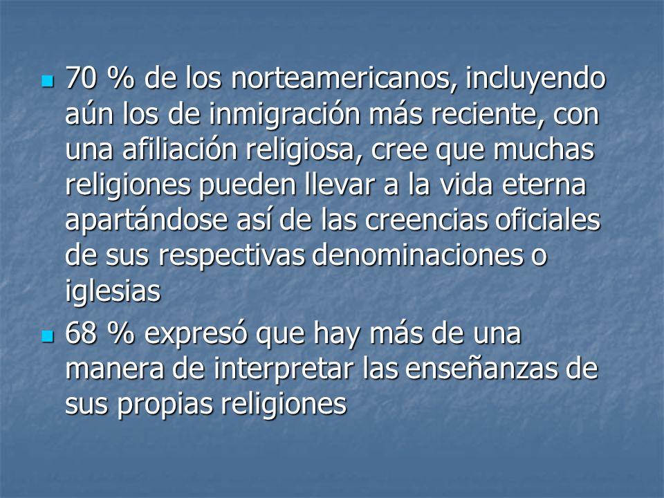 70 % de los norteamericanos, incluyendo aún los de inmigración más reciente, con una afiliación religiosa, cree que muchas religiones pueden llevar a la vida eterna apartándose así de las creencias oficiales de sus respectivas denominaciones o iglesias