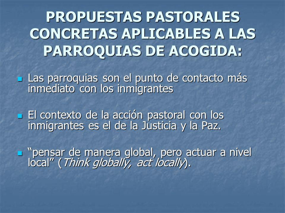 PROPUESTAS PASTORALES CONCRETAS APLICABLES A LAS PARROQUIAS DE ACOGIDA: