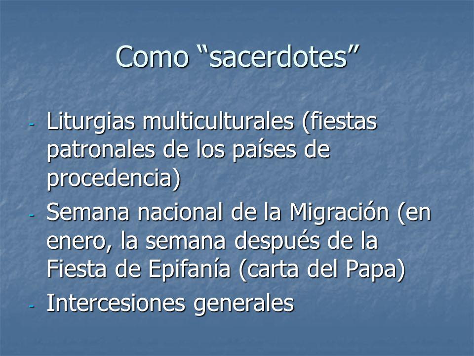 Como sacerdotes Liturgias multiculturales (fiestas patronales de los países de procedencia)