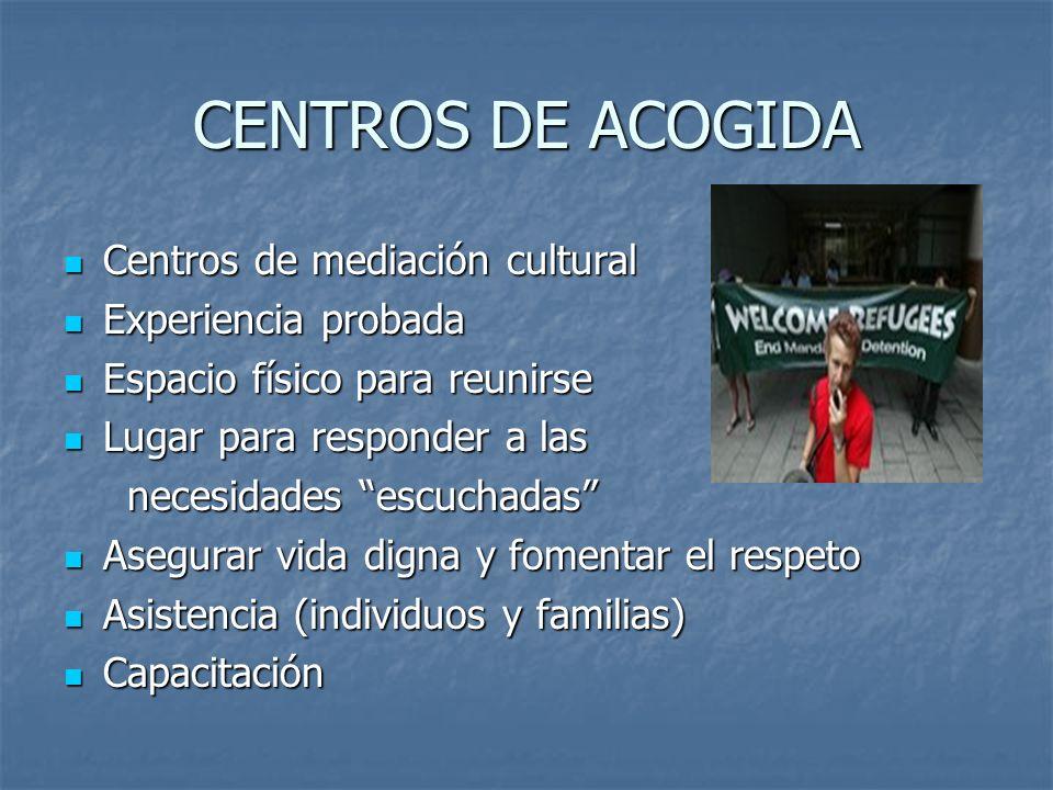CENTROS DE ACOGIDA Centros de mediación cultural Experiencia probada