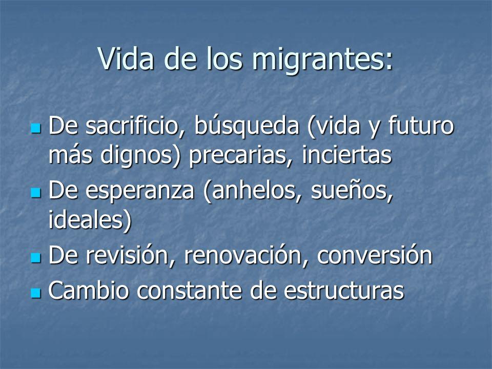 Vida de los migrantes: De sacrificio, búsqueda (vida y futuro más dignos) precarias, inciertas. De esperanza (anhelos, sueños, ideales)