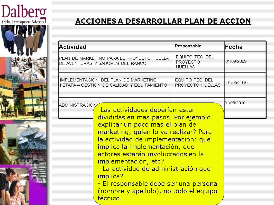 ACCIONES A DESARROLLAR PLAN DE ACCION