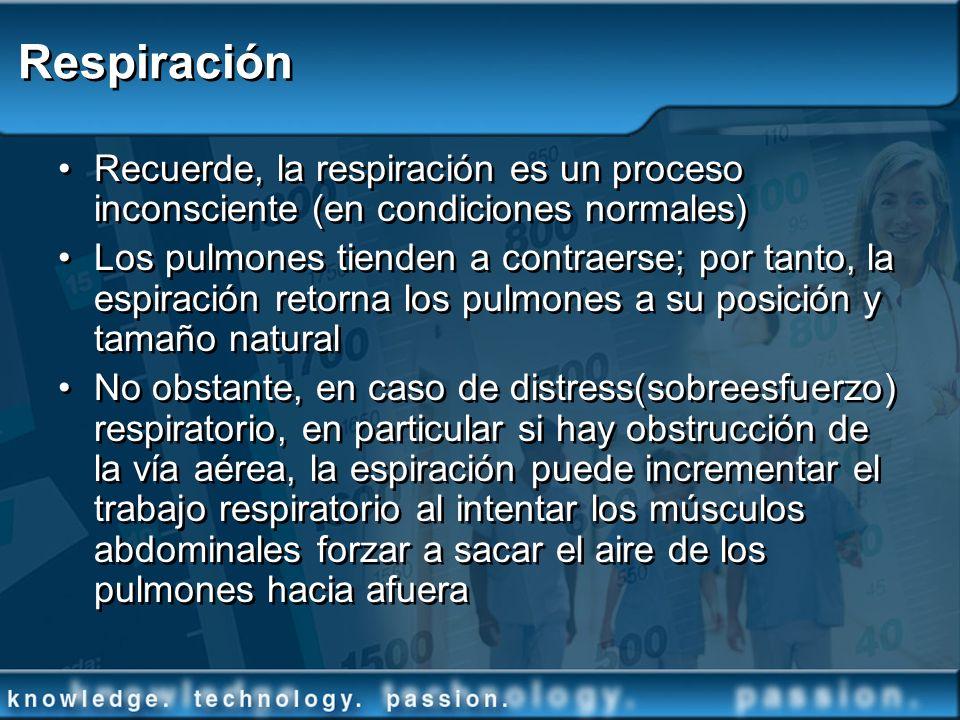 Respiración Recuerde, la respiración es un proceso inconsciente (en condiciones normales)