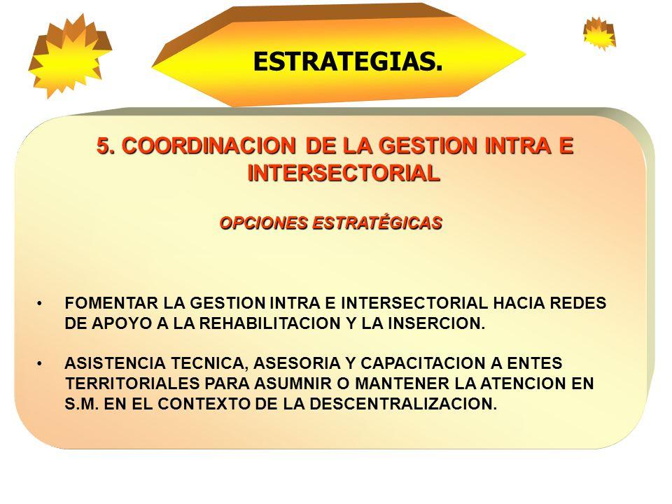 ESTRATEGIAS. 5. COORDINACION DE LA GESTION INTRA E INTERSECTORIAL