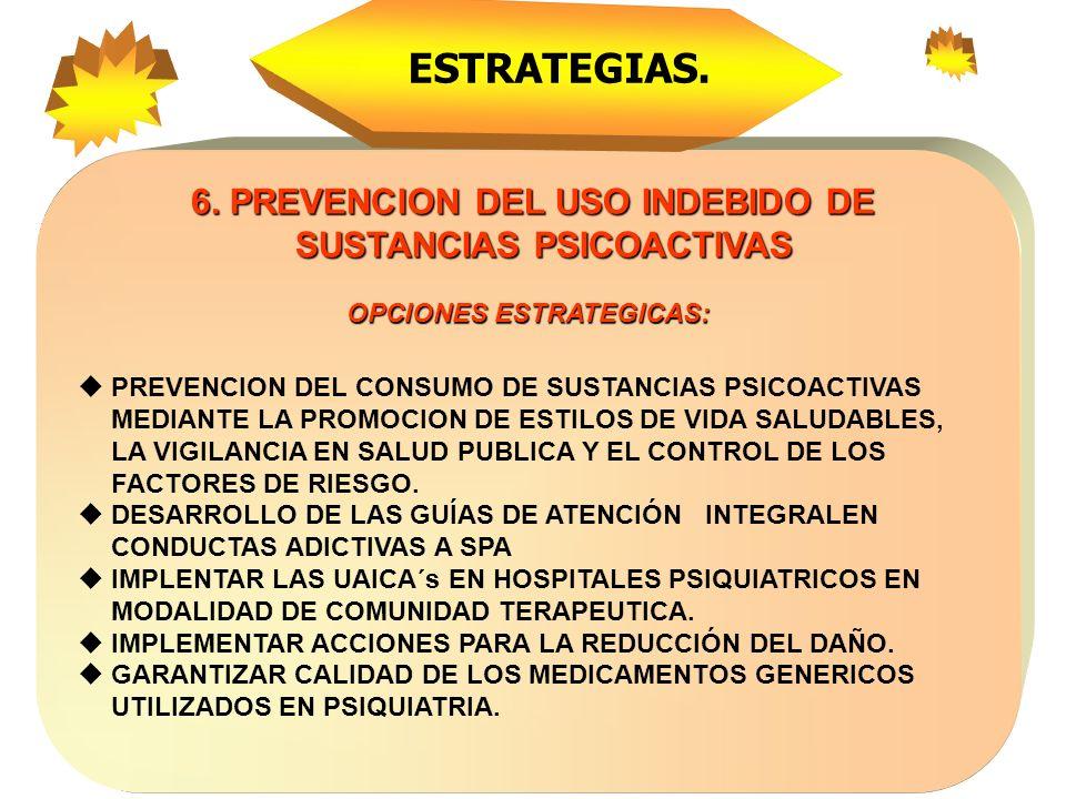 ESTRATEGIAS. 6. PREVENCION DEL USO INDEBIDO DE SUSTANCIAS PSICOACTIVAS