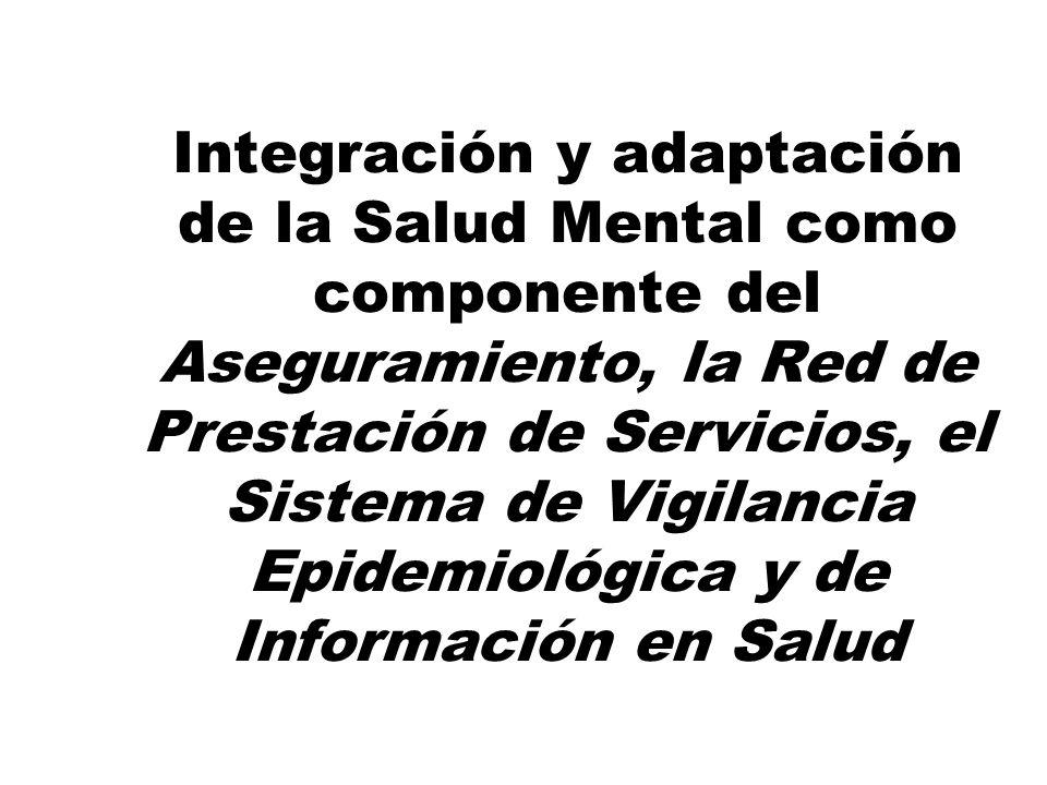 Integración y adaptación de la Salud Mental como componente del Aseguramiento, la Red de Prestación de Servicios, el Sistema de Vigilancia Epidemiológica y de Información en Salud