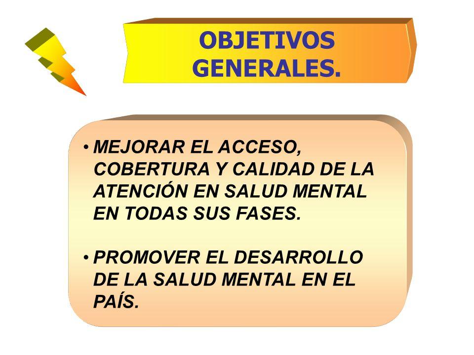 OBJETIVOS GENERALES. MEJORAR EL ACCESO, COBERTURA Y CALIDAD DE LA ATENCIÓN EN SALUD MENTAL EN TODAS SUS FASES.