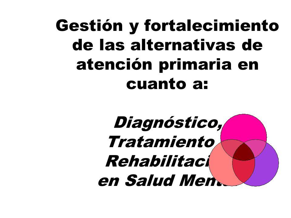 Gestión y fortalecimiento de las alternativas de atención primaria en cuanto a: Diagnóstico, Tratamiento y Rehabilitación en Salud Mental