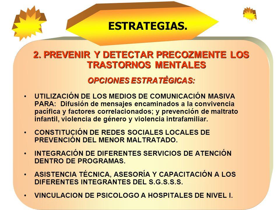 ESTRATEGIAS. 2. PREVENIR Y DETECTAR PRECOZMENTE LOS TRASTORNOS MENTALES. OPCIONES ESTRATÉGICAS: