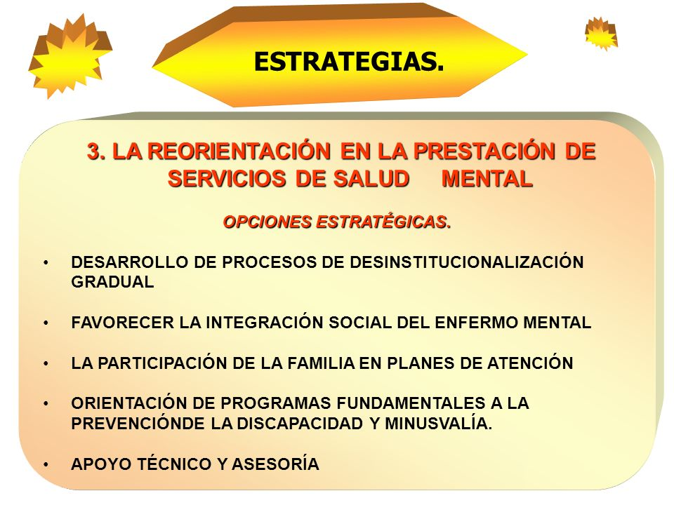 ESTRATEGIAS. 3. LA REORIENTACIÓN EN LA PRESTACIÓN DE SERVICIOS DE SALUD MENTAL. OPCIONES ESTRATÉGICAS.