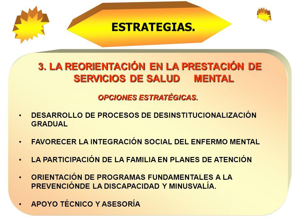 ESTRATEGIAS.3. LA REORIENTACIÓN EN LA PRESTACIÓN DE SERVICIOS DE SALUD MENTAL. OPCIONES ESTRATÉGICAS.