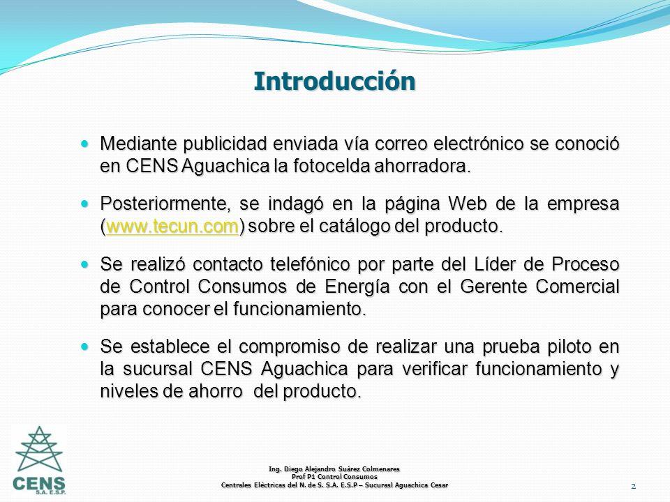 Ing. Diego Alejandro Suárez Colmenares Prof P1 Control Consumos