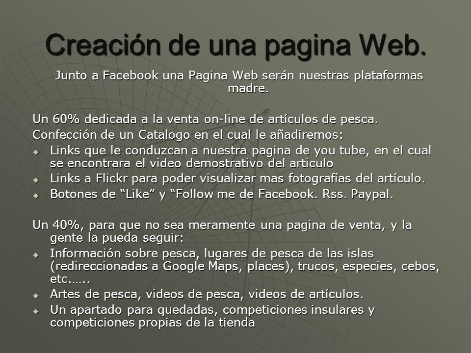 Creación de una pagina Web.