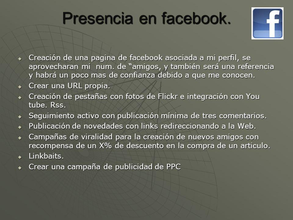Presencia en facebook.