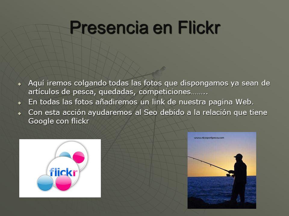 Presencia en FlickrAquí iremos colgando todas las fotos que dispongamos ya sean de artículos de pesca, quedadas, competiciones……..