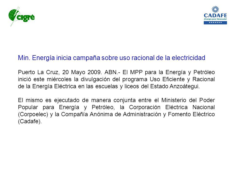 Min. Energía inicia campaña sobre uso racional de la electricidad