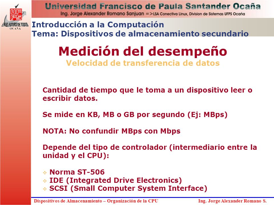 Medición del desempeño Velocidad de transferencia de datos