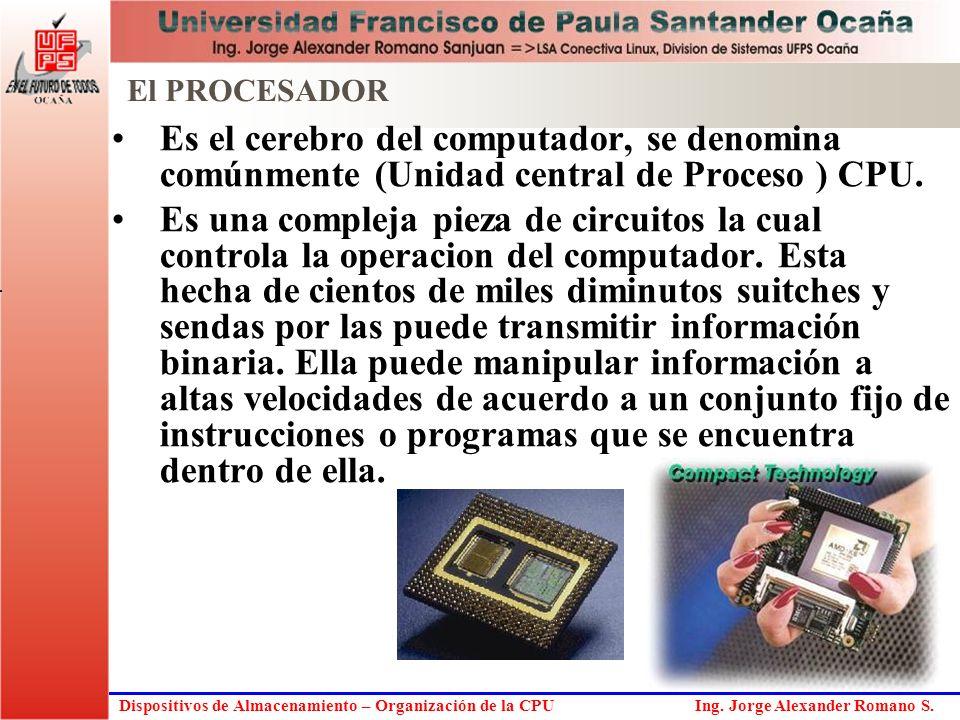 El PROCESADOR Es el cerebro del computador, se denomina comúnmente (Unidad central de Proceso ) CPU.
