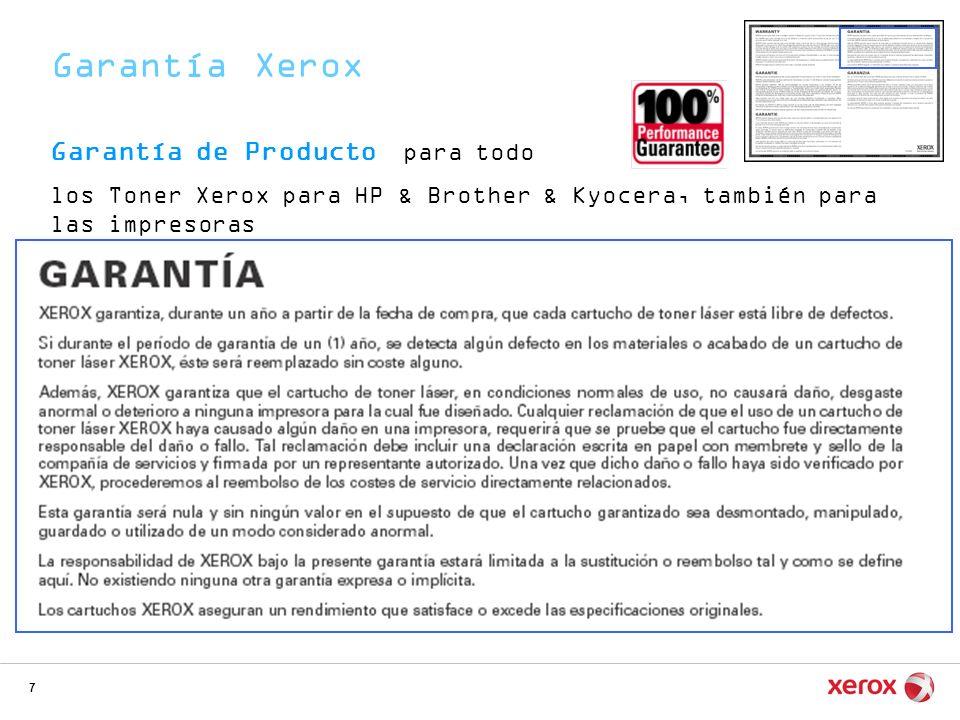 Garantía Xerox Garantía de Producto para todo