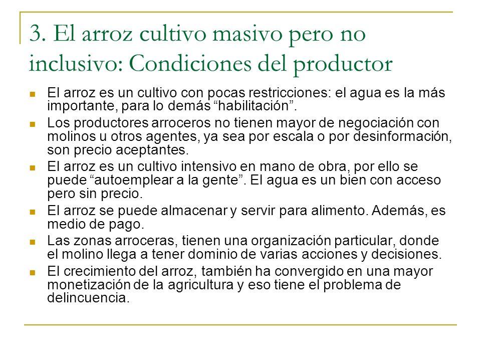 3. El arroz cultivo masivo pero no inclusivo: Condiciones del productor