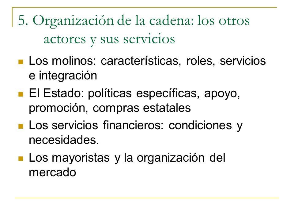 5. Organización de la cadena: los otros actores y sus servicios