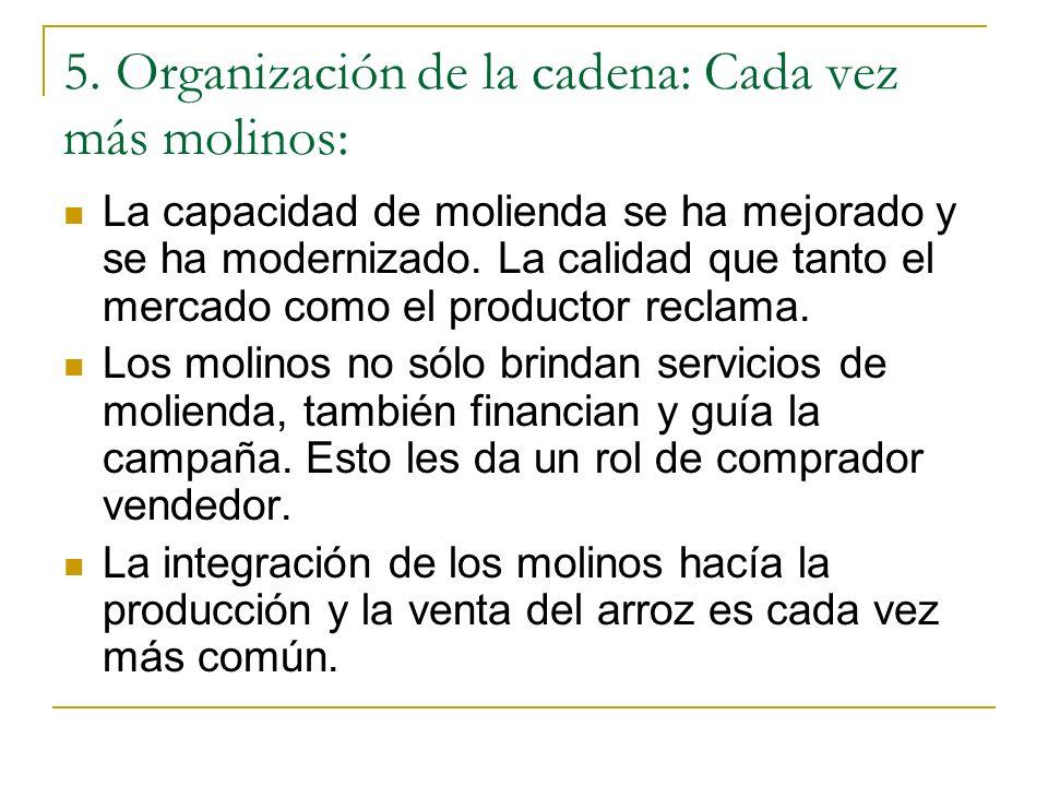 5. Organización de la cadena: Cada vez más molinos: