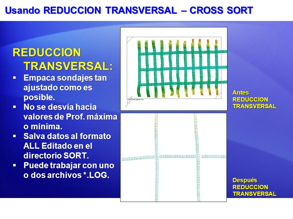 Usando REDUCCION TRANSVERSAL – CROSS SORT